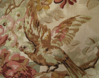 Home Decor Fabric Silvaine by Portfolio Birds Blush Pinks Greens on Pale Mocha Background Large Remnant
