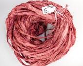 Sari Silk Ribbon, Recycled Silk Sari Ribbon, maroon red sari ribbon, red silk ribbon, weaving supply, knitting supply, crochet supply