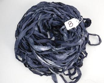 Silk Sari Ribbon, Sari silk ribbon, recycled ribbon, Silver grey ribbon, grey sari ribbon, weaving supply, knitting supply, NEW