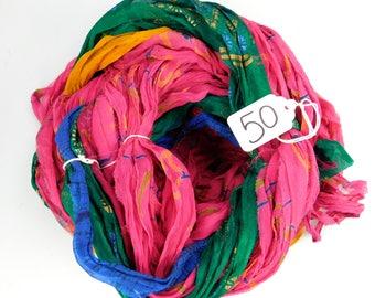 Sari ribbon, Chiffon Silk Ribbon, weaving supply, rug making supply, Chiffon sari ribbon, printed sari ribbon
