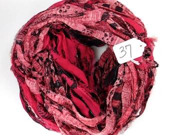 Sari ribbon, Chiffon Silk Ribbon, weaving supply, rug making supply, tassel supply, Chiffon sari ribbon, printed sari ribbon