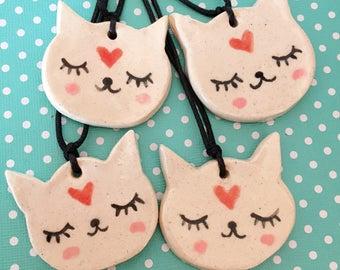 Ceramic Cat Necklace