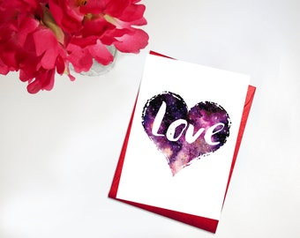 Printable Valentine Valentine's Day Card Cosmic Heart Watercolor Love