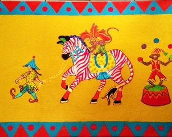 "FLOORCLOTH  Whimsical Decor  ZEBRA / MONKEY  36"" X 50"""
