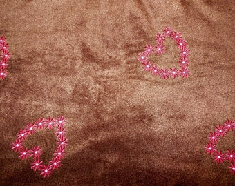 Brown Embroidered Fleece Fabric - Destash