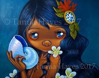 Original Big Eye Art Acrylic Painting Pearl Nautilus Plumeria Mermaid Flowers Tamia Chicasol