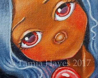 ORIGINAL Acrylic Painting Big Eye Art Valentine Love Heart Tamia Chicasol