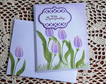 Handmade Sympathy Card: tulip, purple, green, greeting card, cards, sympathy, complete card, handmade, balsampondsdesign