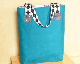 Waxed Canvas Tote Bag with Monogram Option, Canvas Tote Bag, Waxed Canvas Bag, Gift for Her - The LF Market Bag in Marine Blue