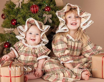 Christmas Nightgown & Mob Cap Baby and Toddler Sizes Plaid Flannel Eyelet Lace Custom Made