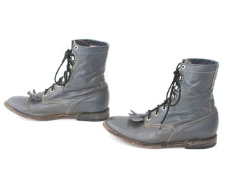 size 6.5 FRINGE grey leather 70s 80s ROPER JUSTIN style lace up ankle boots