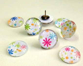 NEW - Set of 4 -Glass Magnets or Push Pins - Confetti design - perfect Teacher Gift - Mothers Day gift - colorful fun pattern