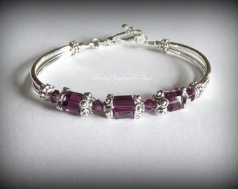 Amethyst Bangle Bracelet: bridesmaid jewelry, bridal jewelry, wedding bracelet, mother's day gift, birthstone, birthstone jewelry bracelet