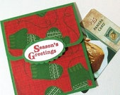 CLEARANCE SALE Christmas Gift Card Holder - Holiday Gift Card Holder - Seasons Greetings Money Card, Gift Card Envelope, Red and Green Mitte