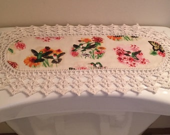 Aunt Roo's MINI Hummingbird fabric runner w/ crocheted edging for toilet tank or small shelf