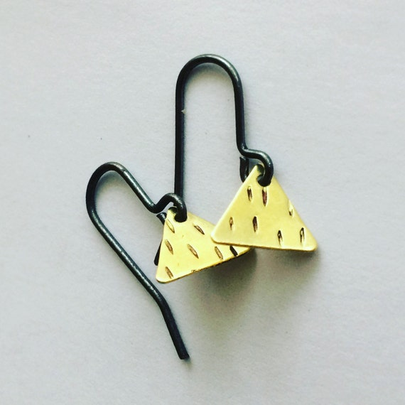 Raw Brass Triangle Earrings - Festival  - Minimal  - Geometric