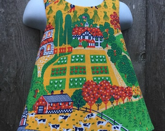 Crossback Top --- Vintage Farm Scene Reversible Pinafore