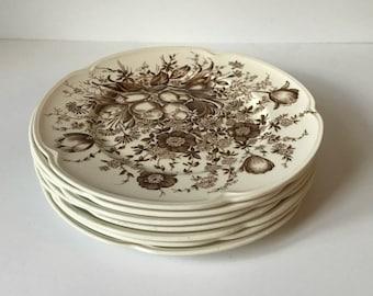 vintage floral Johnson Brothers dessert plate - Windsor Ware - brown