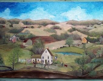 Oil painting, folk art, linen on board, framed  10 x 18