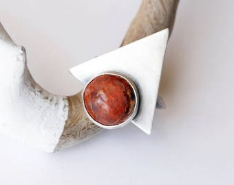 Compass Ring - Fire Opal Silver Ring