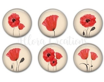 Poppies Magnet Set, Fridge Magnets, Poppy Magnets Set 2, M021