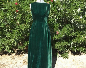 Vintage Emerald Green Renn Faire Christmas Theatre Maxi Dress Sz XS