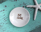 Owl on Small Round Ring Dish, Trinket Dish with Brown Owl, Jewelry Dish with Woodland Owl