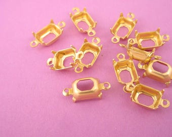 18 brass  Octagon Prong Settings 8x6 2 Ring connectors Open Back