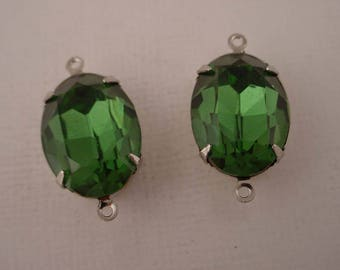 2 vintage Swarovski rhinestone glass green Tourmaline oval 18x13 silver  setting 2 ring charms connectors