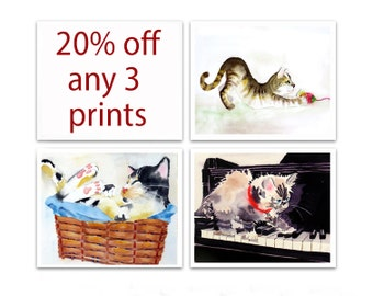 SALE 20% off Any 3 Watercolor Prints 3 Holiday gift3 Fruit Animals Butterflies Cats Birds Art print 3 Christmas gifts set 3 prints 3 sizes