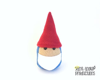 Stuffed Mini Gnome Plushie, Small Plush Garden Gnome in Red and Blue, Cute White Beard, READY TO SHIP