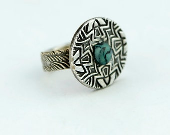 Faux Turquoise and  Sterling Silver Statement Ring