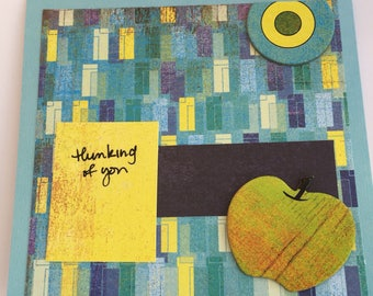 Thinking of you card, Friendship Card, Blue and Yellow card, Thinking of you Greeting card, Greeting card, Card