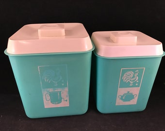 Pair of Vintage Turquoise and White KItchen Canister with Rooster Decals