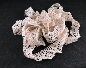 Over 3 Yards in 3 PIeces of Vintage Off White Crochet Trim