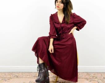 70s boho peasant dress, maroon dress, Prairie dress, boho dress, Vintage boho dress, 70s boho dress, 70s hippie dress, midi dress, day dress