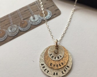 Three (3) stacking discs -personalized mom grandmother name necklace - made to order- by SimaG in Boulder Colorado