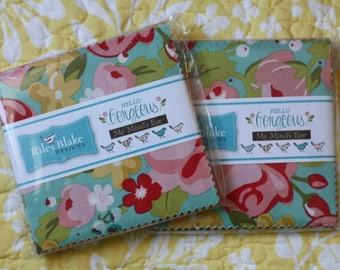 "SALE 2 Packs 5"" inch squares HELLO GORGEOUS charm pack fabric by Riley Blake by My Mind's Eye - Jen Allyson"