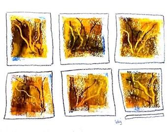 "Sunset Windows, original signed rawing b151 (7"" x 10"")"