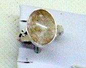 Vintage Rutilated Quartz Ring - Sterling Silver - Natural Rutile Golden Quartz - Size 8