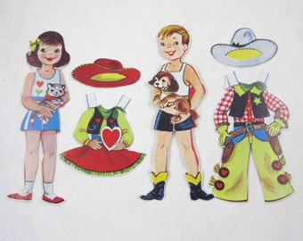 Vintage Cowgirl and Cowboy Valentine Paper Dolls with Outfits and Hats