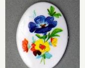 50% Off Sale Vintage Floral Cameo Cabochon Plastic 40x30mm - Multicolor (1) VIC296