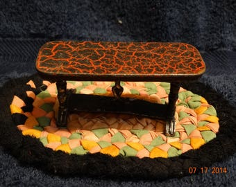 Vintage 1930's Die Cast Iron Tootsietoy Side Red & Black Marble Top Kitchen Table, Primitive Doll House Furniture