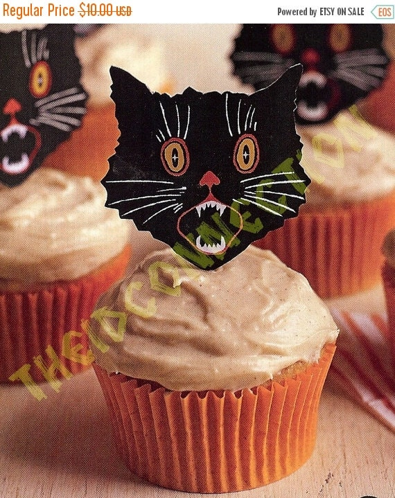 On Sale Cup Cake Toppers / Halloween Holiday DIY Party Supplies, Black Cat  Kitty Cats Art Deco Topper, 12 Pussy Cats, Party Decorations, Gi