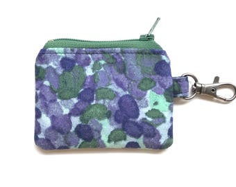 purple fabric small change purse. flash drive case. d ring lobster claw key chain. jewelry pouch small. ear bud pill safety pin case