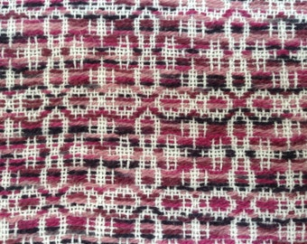 Handwovem table runner with shades of rose overshot patteen