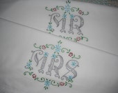 Hand Embroidered Mr. and Mrs. Pillowcases- Unique Wedding Gift-Grey and Turquoise