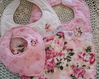 Baby Bib Gift Set - Set of 3- Cottage Chic - Pink Roses