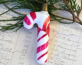 Candy Cane Milk Glass Christmas Tree Light Bulb Vintage Antique