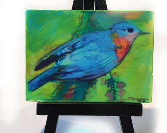 Spring returns, Easel and aceo, wood mounted aceo, Bluebird art #Birds #Aceo original #Little gifts #Gifts under 20 #Spring